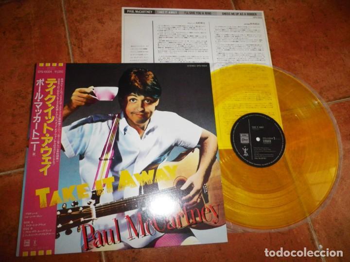 PAUL MCCARTNEY TAKE IT AWAY MAXI SINGLE VINILO AMARILLO JAPON OBI AÑO 1982 MUY RARO THE BEATLES (Música - Discos de Vinilo - Maxi Singles - Pop - Rock - New Wave Internacional de los 80)