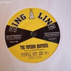 Discos de vinilo: THE POPCORN BROTHERS PURPLE HOT DOG (PARTS 1 & 2) SOUL FUNK UK 2001 DJ COPY NM. Lote 158752698