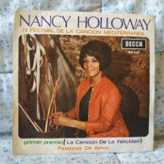 Discos de vinilo: NANCY HOLLOWAY - LA CANCION DE LA FELICIDAD / PALABRAS DE AMOR - SINGLE DECCA 1967 - TRICENTRO. Lote 158778422