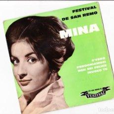 Discos de vinilo: EP FESTIVAL DE SANREMO 1960 MINA E' VERO +3 LABEL FESTIVAL 1960 FRANCE . Lote 158812078