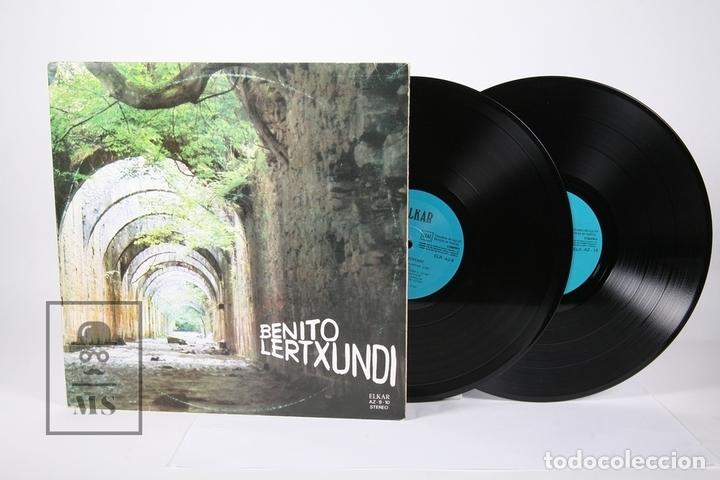DISCO DOBLE LP DE VINILO - BENITO LERTXUNDI / ZUBEROA... - ELKAR 1977 - PORTADA ABIERTA Y LETRAS (Música - Discos - LP Vinilo - Solistas Españoles de los 70 a la actualidad)