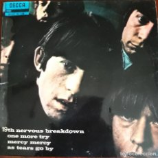 Discos de vinilo: THE ROLLING STONES. EP 45 RPM. 19TH NERVOUS BREAKDOWN. ONE MORE. MERCY. AS TEARS GO BY.. Lote 159068750