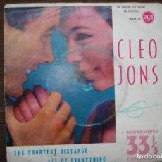Discos de vinilo: RARO SINGLE, CLEO JONS - THE SHORTEST DISTANCE, ALL OF EVERYTHING , RCA EDITADO EN ESPAÑA AÑO 1961. Lote 159145666