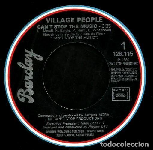 Discos de vinilo: S153 - VILLAGE PEOPLE. CANT STOP THE MUSIC. Single. Vinilo. - Foto 2 - 159297982