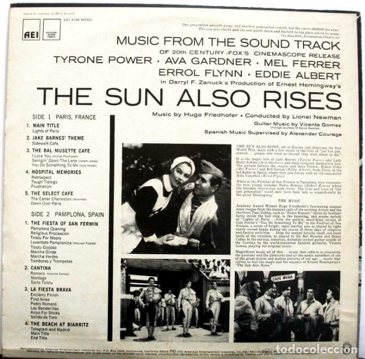 Discos de vinilo: FIESTA. THE SUN ALSO RISES. HUGO FRIEDHOFER. LIONEL NEWMAN - Foto 2 - 159374910