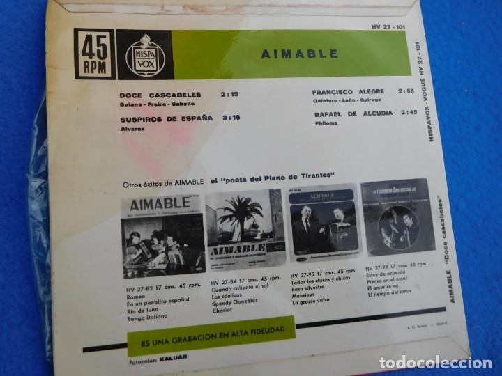 Discos de vinilo: Vinilo grabado por AIMABLE, 1963 (12 cascabeles, Suspiros de España, Francisco Alegre, R. Alcudia) - Foto 2 - 159543250