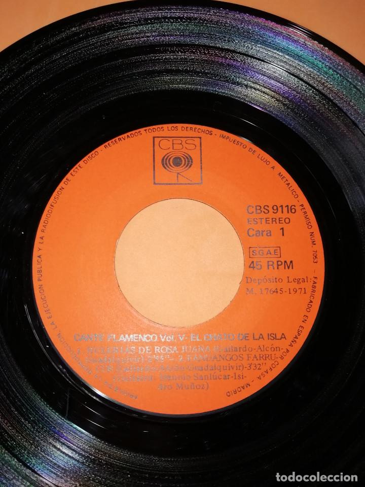 Discos de vinilo: EL CHATO DE LA ISLA. CANTE FLAMENCO VOL. 5. CBS 1972. RARO. - Foto 4 - 159620142