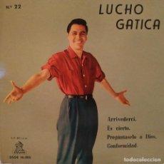 Discos de vinilo: LUCHO GATICA - ARRIVEDERCI + 3 - (EP DE 4 CANCIONES) EMI 1960 - VINILO ROJO, EN ESTADO COMO NUEVO. Lote 159709342