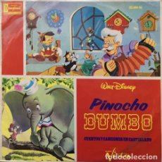 Discos de vinil: PINOCHO Y DUMBO - CUENTO Y CANCIONES EN CASTELLANO DE LAS 2 PELICULAS WALT DISNEY LP ESPAÑOL 1966 #. Lote 159746518