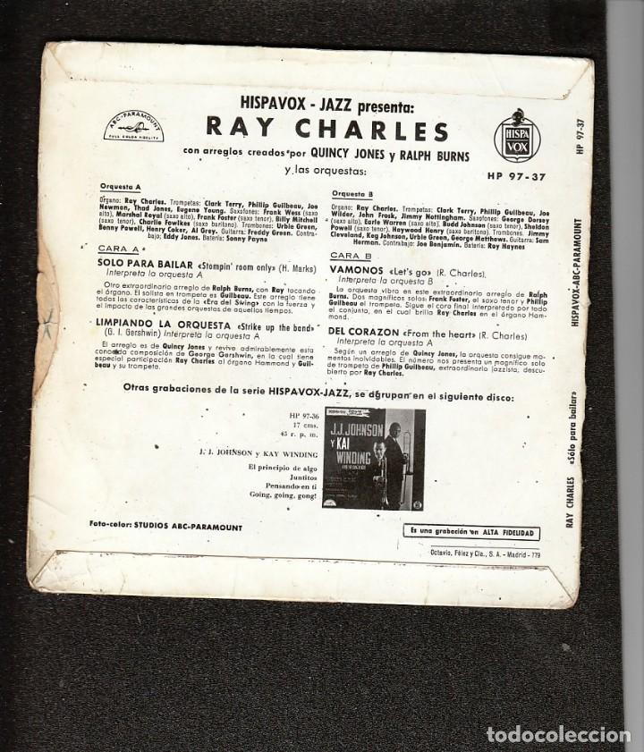 Discos de vinilo: RAY CHARLES - STOMPIN ROOM ONLY + 3 (EP ) HISPAVOX 1961 - RARISIMO!!!- HISPAVOX JAZZ- HAMMOND ORGAN - Foto 2 - 159773706