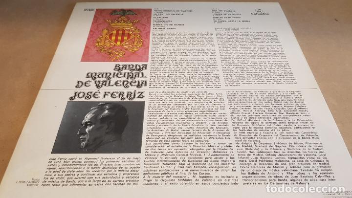 Discos de vinilo: BANDA MUNICIPAL DE VALENCIA / DIR: JOSÉ FERRIZ / LP - COLUMBIA-1975 / CALIDAD LUJO. ****/**** - Foto 2 - 159777150