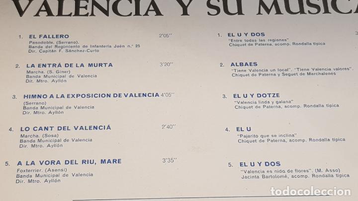 Discos de vinilo: VALENCIA Y SU MÚSICA / LP - EMI-REGAL-1967 / SERIE AZUL / CALIDAD LUJO. ****/**** - Foto 3 - 159778174