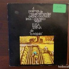 Discos de vinilo: ELISA SERNA ?– CUATRO POEMAS DE MIGUEL HERNÁNDEZ, ANTONIO MACHADO, JESÚS L. PACHECO SEGÚN ELISA . Lote 159789338