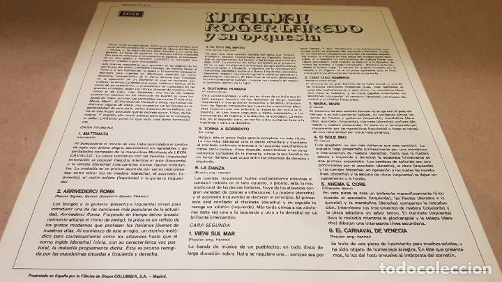 Discos de vinilo: ROGER LAREDO Y SU ORQUESTA / ITALIA / LP - DECCA-1963 / CALIDAD LUJO. ****/**** - Foto 2 - 159841902