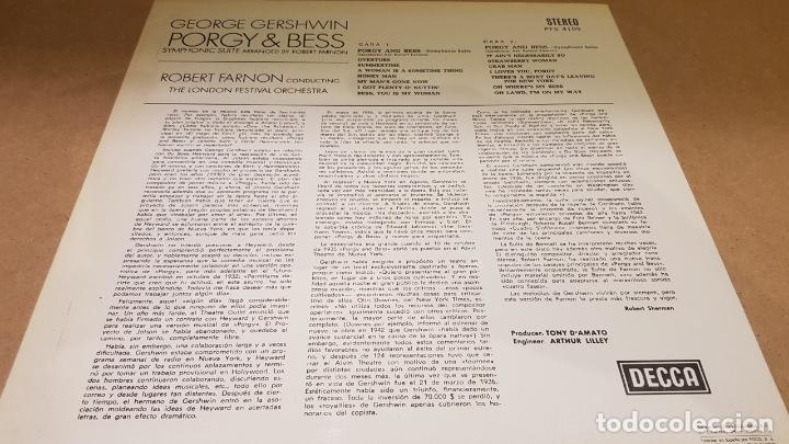 Discos de vinilo: GEORGE GERSHWIN / PORGY & BESS / LP - DECCA-1967 / CALIDAD LUJO. ****/**** - Foto 2 - 159846958