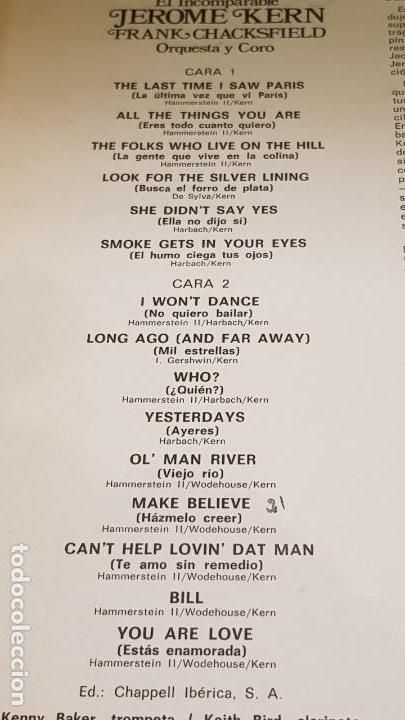 Discos de vinilo: FRANK CHACKSFIELD / EL INCOMPARABLE JEROME KERN / LP - DECCA-1976 / DE LUJO. ****/**** - Foto 3 - 159847422