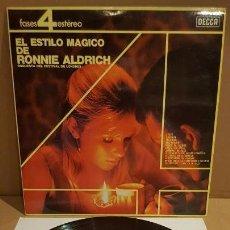 Discos de vinilo: EL ESTILO MÁGICO DE RONNIE ALDRICH / LP - DECCA-1965 / CALIDAD LUJO. ****/****. Lote 159852482
