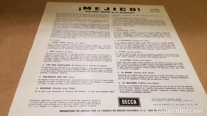 Discos de vinilo: ROLAND SHAW Y SU ORQUESTA / MEXICO / LP - DECCA-1963 / MBC. ***/*** - Foto 2 - 159876530