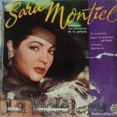 Discos de vinilo: DISCOS SINGLE-SARA MONTIEL ?– INTERPRETA LAS CANCIONES DE LA PELÍCULA LA VIOLETERA 1958. Lote 159882278
