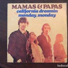 Discos de vinilo: MAMAS & PAPAS ?– CALIFORNIA DREAMIN / MONDAY MONDAY SELLO: ABC RECORDS ?– SG-0019, MEDITERRANEO . Lote 159889350