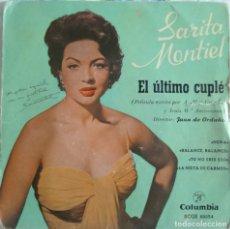 Discos de vinilo: DISCO SINGLE-SARITA MONTIEL ?– EL ULTIMO CUPLÉ 1957. Lote 159908398
