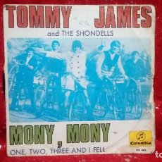 Discos de vinilo: TOMMY JAMES AND THE SHONDELLS - MONY MONY - COLUMBIA 1968.. Lote 159915866