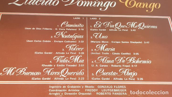 Discos de vinilo: PLÁCIDO DOMINGO / TANGO / LP - POLYDOR-1981 / CALIDAD LUJO. ****/**** - Foto 3 - 159960994