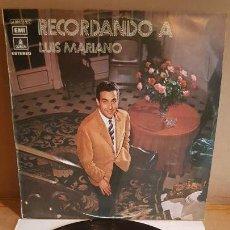 Discos de vinilo: RECORDANDO A LUIS MARIANO / LP - EMI-ODEON-1972 / CALIDAD LUJO. ****/****. Lote 159965014