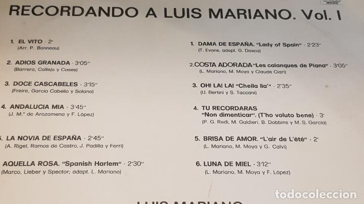 Discos de vinilo: RECORDANDO A LUIS MARIANO / LP - EMI-ODEON-1972 / CALIDAD LUJO. ****/**** - Foto 3 - 159965014