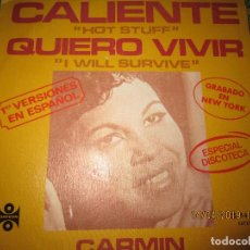 Discos de vinilo: CARMIN - CALIENTE SINGLE ORIGINAL ESPAÑOL - ORFEON RECORDS 1979 - STEREO -. Lote 159965090