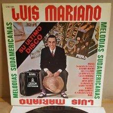 Discos de vinilo: LUIS MARIANO / MELODÍAS SUDAMERICANAS / SU ÚLTIMO DISCO / LP-ODEON-1970 / LUJO. ****/****. Lote 159965998