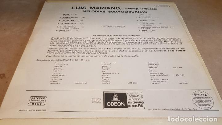 Discos de vinilo: LUIS MARIANO / MELODÍAS SUDAMERICANAS / SU ÚLTIMO DISCO / LP-ODEON-1970 / LUJO. ****/**** - Foto 2 - 159965998