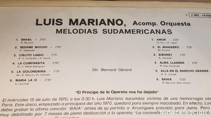 Discos de vinilo: LUIS MARIANO / MELODÍAS SUDAMERICANAS / SU ÚLTIMO DISCO / LP-ODEON-1970 / LUJO. ****/**** - Foto 3 - 159965998