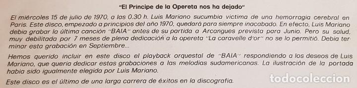Discos de vinilo: LUIS MARIANO / MELODÍAS SUDAMERICANAS / SU ÚLTIMO DISCO / LP-ODEON-1970 / LUJO. ****/**** - Foto 4 - 159965998