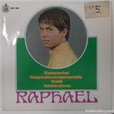 Discos de vinilo: RAPHAEL - BANDA SONORA DE LA PELICULA AL PONERSE EL SOL EP ED ESPAÑOLA 1967. Lote 159989566