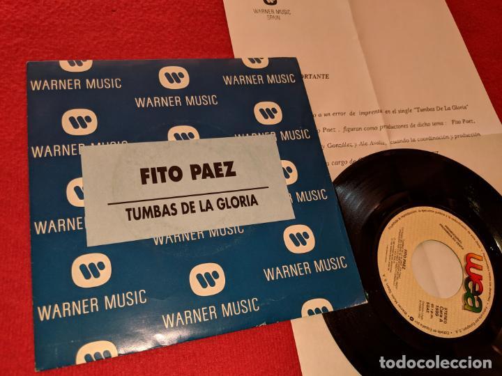 FITO PAEZ TUMBAS EN LA GLORIA 7'' SINGLE 1992 WEA PROMO DOBLE CARA SPAIN + HOJA PROMO (Música - Discos - Singles Vinilo - Grupos y Solistas de latinoamérica)