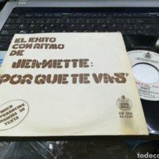 Discos de vinilo: JEANETTE SINGLE PROMOCIONAL PORQUE TE VAS 1974. Lote 160170681