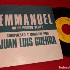 Discos de vinilo: EMMANUEL NO HE PODIDO VERTE 7'' SINGLE 1991 EPIC PROMO UNA CARA JOSE LUIS GUERRA. Lote 160172998