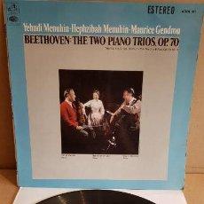 Discos de vinilo: BEETHOVEN / THE TWO PIANO TRIOS - OP. 70 / LP-VOZ DE SU AMO-1967 / CALIDAD LUJO. ****/****. Lote 160253506