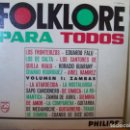 Discos de vinilo: FOLKLORE PARA TODOS VOLUMEN 1. ZAMBAS. PHILIPS ARGENTINA 85008 PL. Lote 160436598