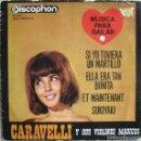Discos de vinilo: CARAVELLI Y SUS VIOLINES MÁGICOS: SI YO TUVIERA UN MARTILLO / ELLA ERA TAN BONITA / ET MAINTENANT.... Lote 160442610