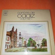 Discos de vinilo: CANTES DE CADIZ VOL 1 ALEGRIAS DE PUERTA TIERRA, CANTIÑAS AMOROSAS...E.P. CBS. Lote 160471254