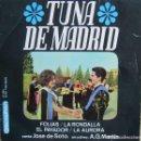 Discos de vinilo: TUNA DE MADRID: FOLIAS / LA RONDALLA / EL PAYADOR / LA AURORA. Lote 160480646
