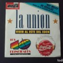 Discos de vinilo: SINGLE LA UNION, VIVIR AL ESTE DEL EDEN, LA DAMA SE ESCONDE, CAPTURADO, 1989. Lote 160685894