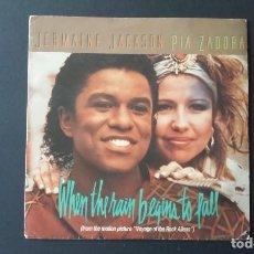 Discos de vinilo: SINGLE JERMAINE JACKSON PIA ZADORA, WHEN THE RAIN BEGINS TO FALL, 1984. Lote 160704042