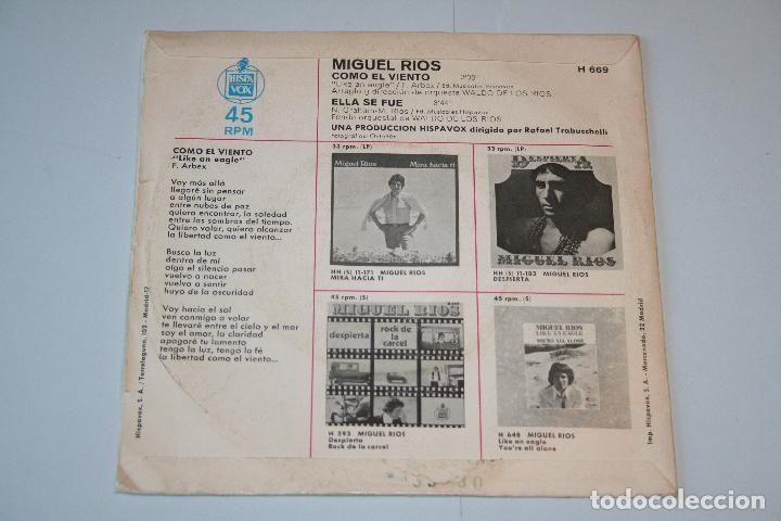 Discos de vinilo: MIGUEL RÍOS *** SINGLE VINILO AñO 1970 ***HISPAVOX - Foto 2 - 160723314