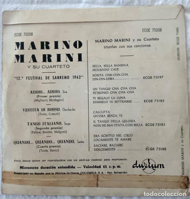 Discos de vinilo: DISCO SINGLE Marino Marini Y Su Cuarteto – Addio... Addio / Vestita Di Rosso 1962 - Foto 2 - 160848682