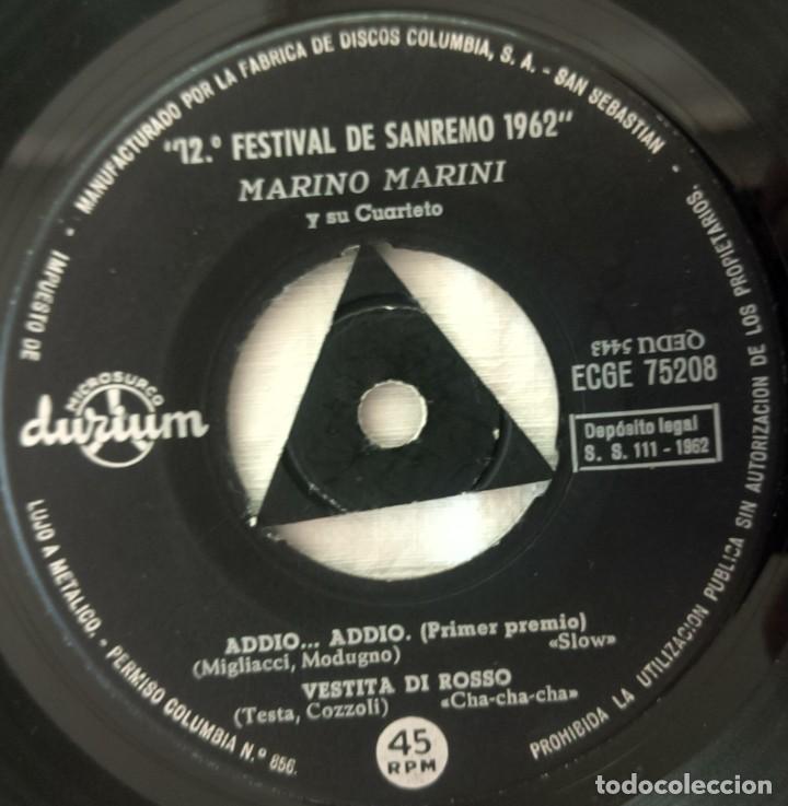 Discos de vinilo: DISCO SINGLE Marino Marini Y Su Cuarteto – Addio... Addio / Vestita Di Rosso 1962 - Foto 4 - 160848682