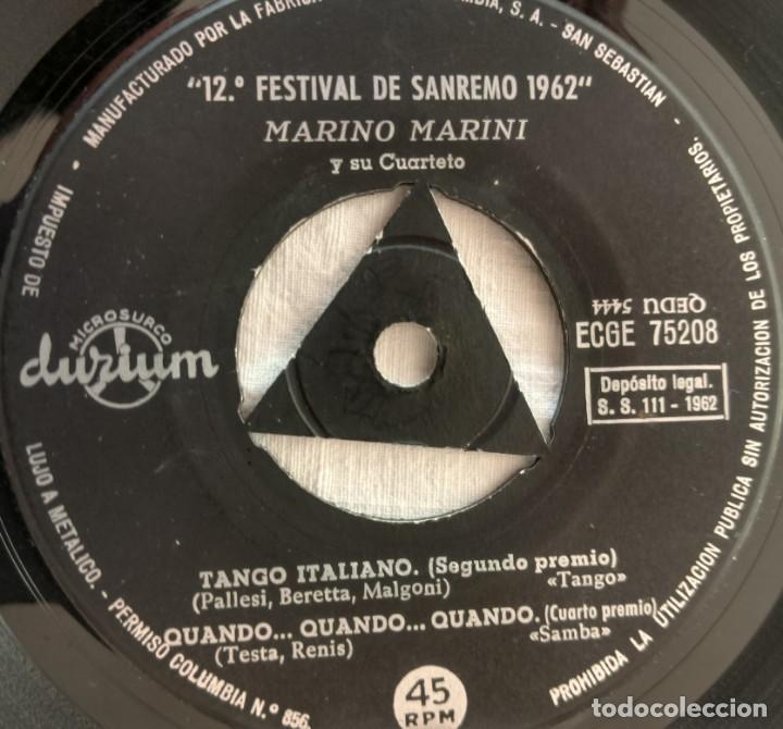 Discos de vinilo: DISCO SINGLE Marino Marini Y Su Cuarteto – Addio... Addio / Vestita Di Rosso 1962 - Foto 6 - 160848682