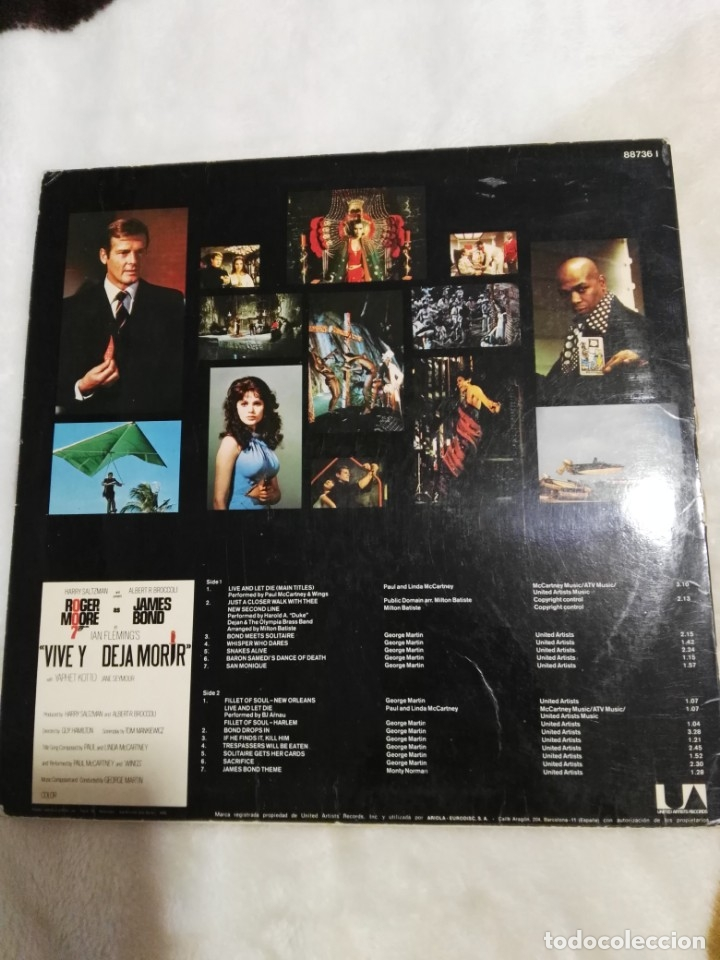 Discos de vinilo: VIVE Y DEJA MORIR-GEORGE MARTIN+PAUL MCCARTNEY-1975-James bond ESPAÑA BEATLES - Foto 2 - 160964526